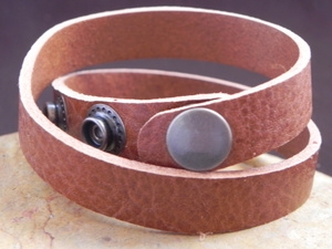 Leather Cuff Double Wrap Bracelet Stiff Harness Leather Light Brown