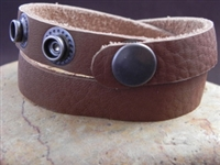 Leather Cuff Double Wrap Bracelet Taco Brown