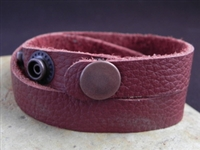 Leather Cuff Double Wrap Bracelet Deep Rust