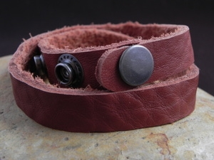 Leather Cuff Double Wrap Bracelet Light Rust