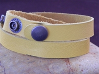 Leather Cuff Double Wrap Bracelet Yellow