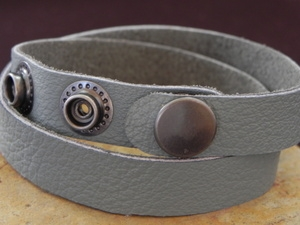 Leather Cuff Double Wrap Bracelet Light Grey