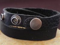 Leather Cuff Double Wrap Bracelet Black