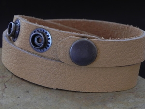 Leather Cuff Double Wrap Bracelet Saddle (Chamois Cloth)