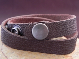 Leather Cuff Double Wrap Bracelet Cocoa Brown
