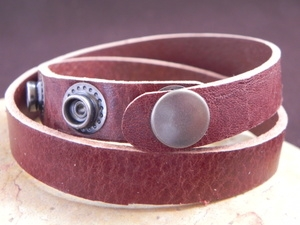 Leather Cuff Double Wrap Bracelet Stiff Harness Leather Burgandy