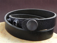 Leather Cuff Double Wrap Bracelet Stiff Harness Leather Black