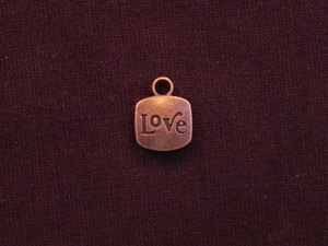 "Charm Antique Copper Colored ""Love"""