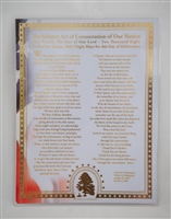 Solemn Act of Consecration of Our Nation Gold-Embossed Laminated