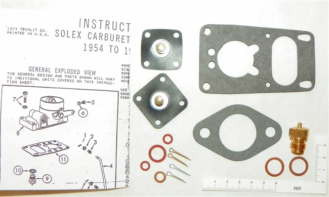 1954 - 60 1200cc Volkswagen Carburetor Repair Kit VW Solex SL-1 NEW