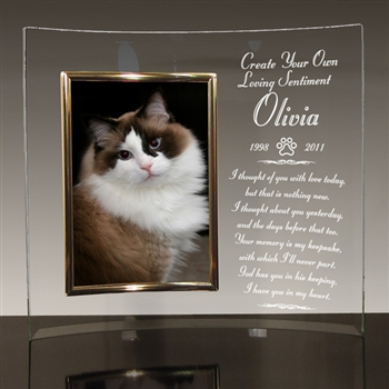 Personalized Glass Crescent Memorial Picture Frame For Cats