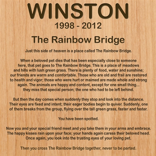 Rainbow Bridge Dog Plaque