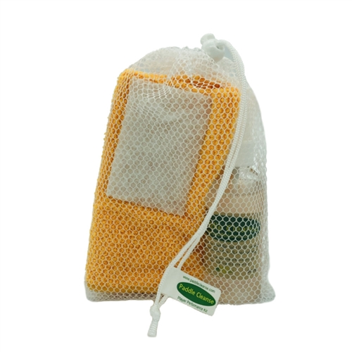 Paddle Cleansing Kit, with spray bottle, microfiber cloth and scrubber pad.