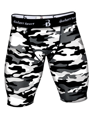 Mens Compression Shorts. Sizes S-3XL. Black Camo