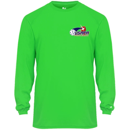 USAPA logo at left chest on performance fabric long sleeve shirt. Multiple colors. Sizes S-3XL
