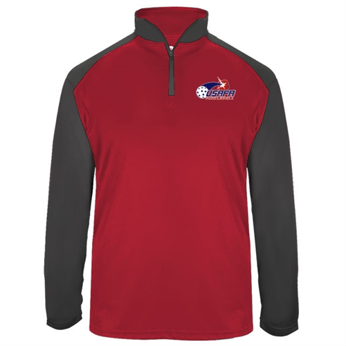 USAPA logo at left chest on UV protective, quarter zip, long sleeve shirt. Multiple colors. Sizes S-3XL