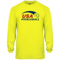 USA Pickleball Classic logo in red and blue ink on performance fabric long sleeve shirt. Multiple colors. Sizes S-3XL