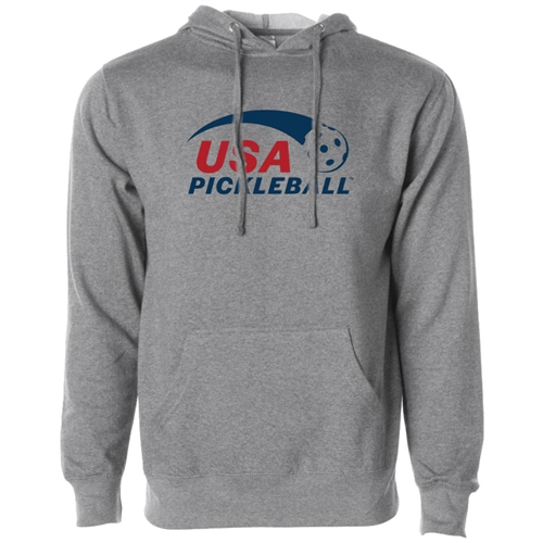 USA Pickleball Classic logo in blue and red ink on cotton blend hooded sweatshirt. Multiple colors. Sizes XS-3XL