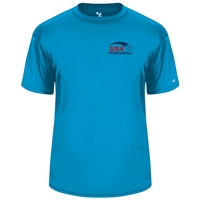 USA Pickleball logo in blue and red ink at left chest on performance fabric short sleeve shirt. Multiple colors. Sizes S-3XL