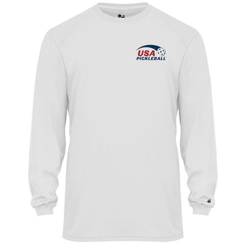 USA Pickleball Classic Pro logo at left chest in blue and red ink on performance fabric long sleeve shirt. Multiple colors. Sizes S-3XL