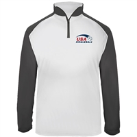 USA Pickleball Classic pro logo in red and blue ink at left chest on UV protective, quarter zip, long sleeve shirt. Multiple colors. Sizes S-3XL