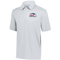 USA Pickleball logo in blue and red ink at left chest on performance fabric polo shirt. Sizes S-3XL