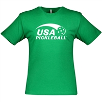 USA Pickleball logo in white ink on cotton blend short sleeve shirt. Multiple colors. Sizes S-3XL