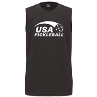 USA Pickleball logo in white ink on performance fabric sleeveless shirt. Multiple colors. Sizes S-3XL