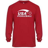 USA Pickleball Sport logo in white ink on performance fabric long sleeve shirt. Multiple colors. Sizes S-3XL