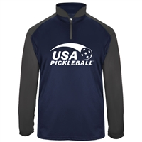 USA Pickleball Sport logo in white ink on UV protective, quarter zip, long sleeve shirt. Multiple colors. Sizes S-3XL