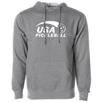 USA Pickleball Sport logo at left chest in white ink on cotton blend hooded sweatshirt. Multiple colors. Sizes XS-3XL