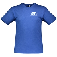 USA Pickleball logo in white ink at left chest on cotton blend short sleeve shirt. Multiple colors. Sizes S-3XL