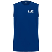USA Pickleball logo in white ink at left chest on performance fabric sleeveless shirt. Multiple colors. Sizes S-3XL