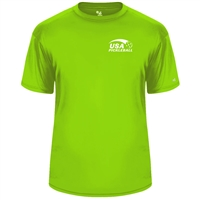 USA Pickleball logo in white ink at left chest on performance fabric short sleeve shirt. Multiple colors. Sizes S-3XL