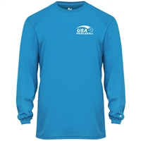 USA Pickleball Sport Pro logo at left chest in white ink on performance fabric long sleeve shirt. Multiple colors. Sizes S-3XL