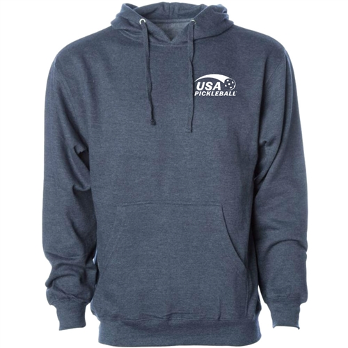 USA Pickleball Sport Pro logo at left chest in white ink on cotton blend hooded sweatshirt. Multiple colors. Sizes XS-3XL