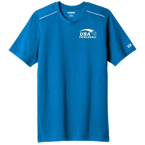 USA Pickleball Sport Pro logo at left chest on OGIO performance short sleeve shirt. Bolt Blue. Sizes S-3XL