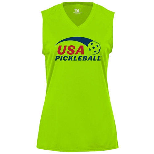 USA Pickleball logo in red and blue ink on performance fabric sleeveless shirt. Multiple colors. Sizes S-2XL