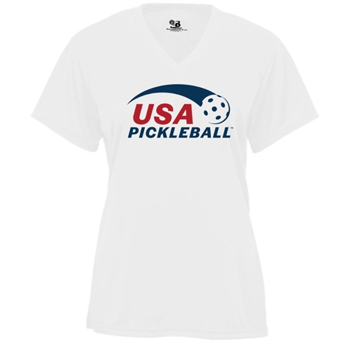 USA Pickleball logo screen printed in red and blue ink on performance fabric v-neck short sleeve shirt. Multiple colors. Sizes S-2XL