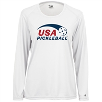 USA Pickleball logo in red and blue ink on performance fabric long sleeve shirt. Multiple colors. Sizes S-2XL