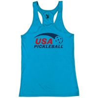 USA Pickleball logo in blue and red ink on performance fabric racerback tank. Multiple colors. Sizes S-2XL
