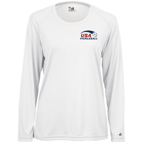 USA Pickleball logo in red and blue ink at left chest on performance fabric long sleeve shirt. Multiple colors. Sizes S-2XL
