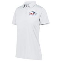 USA Pickleball logo in blue and red ink at left chest on performance fabric polo shirt. Sizes S-2XL