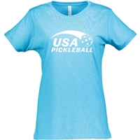 USA Pickleball logo screen-printed in white ink on front of cotton blend short sleeve shirt. Multiple colors. Sizes S-2XL