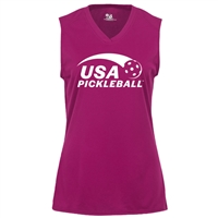 USA Pickleball logo in white ink on performance fabric sleeveless shirt. Multiple colors. Sizes S-2XL