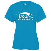 USA Pickleball logo screen printed in white ink on performance fabric v-neck short sleeve shirt. Multiple colors. Sizes S-2XL