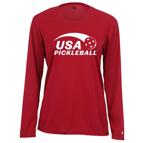 USA Pickleball logo in white ink on performance fabric long sleeve shirt. Multiple colors. Sizes S-2XL