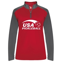 USA Pickleball logo in white ink on UV protective, quarter zip, long sleeve shirt. Multiple colors. Sizes S-2XL
