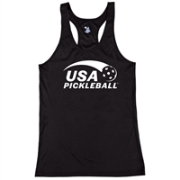 USA Pickleball logo in white ink on performance fabric racerback tank. Multiple colors. Sizes S-2XL