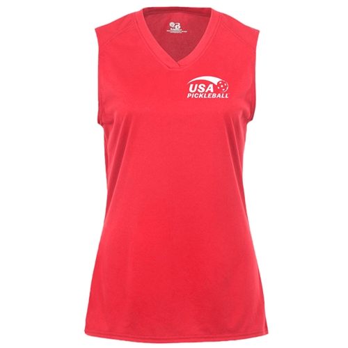 USA Pickleball logo at left chest in white ink on performance fabric sleeveless shirt. Multiple colors. Sizes S-2XL